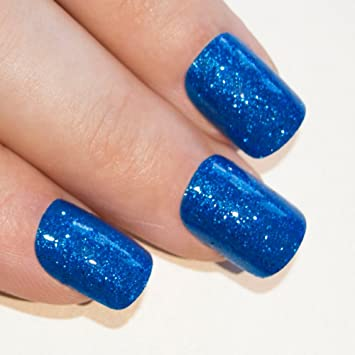 Bling Art False Nails French Fake Blue Gel Glitter Squoval 24 Acrylic Medium Tip