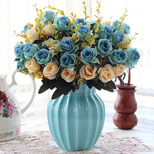 XHOPOS HOME Artificial Flowers Blue Rose Blue Ceramic Vase Wedding Decorations Bridal Accessories Fake Flowers living (Potted Rose Topiary)