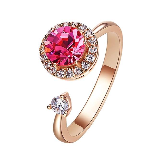 8237ae69bed8 Amazon.com: Aivtalk Women Open Rings Crystal Swarovski Adjustable ...