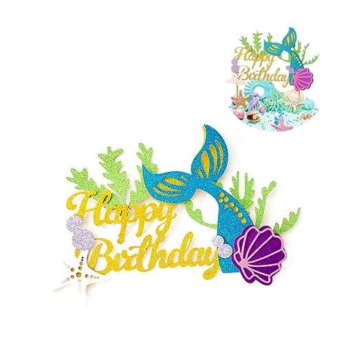 Winko Decoración para Tarta de Sirena con Purpurina para cumpleaños, diseño de Sirena para decoración de Tartas de Sirena, para Baby Shower, Fiestas ...