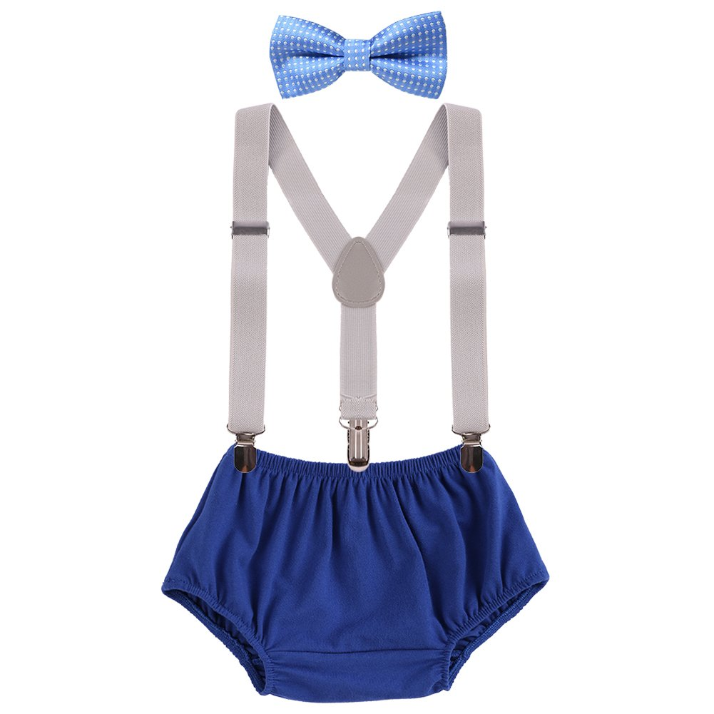 Baby Boys Adjustable Y Back Clip Suspenders Outfit First Birthday Bloomers Bowtie set Sky Blue + Navy