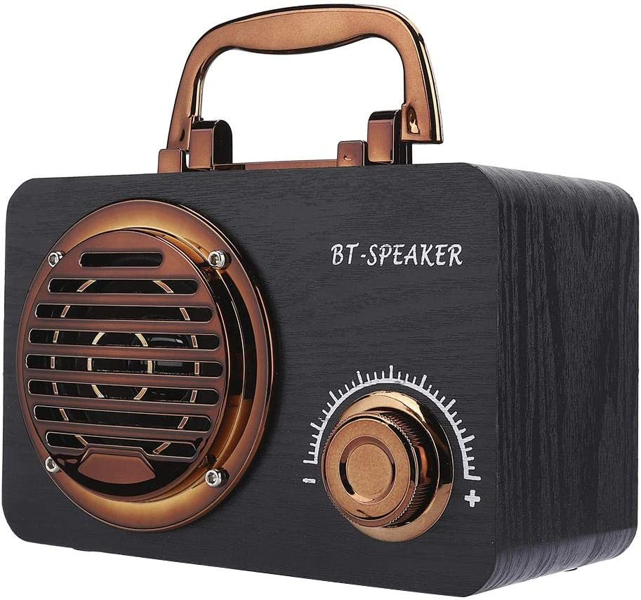 Dpofirs Altavoz Bluetooth Vintage,Caja de Altavoz de Madera Retro,Bocina Inalámbrico Portátil al Aire Libre,Mini Caja de Sonido de Sonido Dimensional de 360 °,Bajo Ruido Altavoz Universal(Negro)