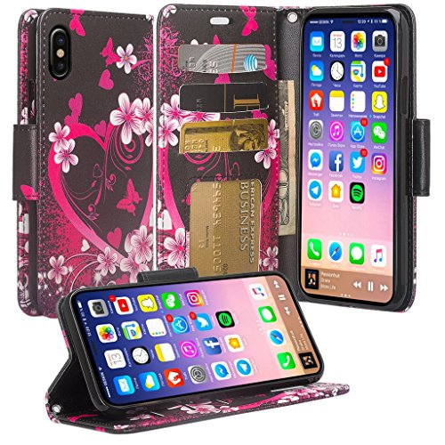 Coverlab Phone Case Compatible for Apple iPhone XR Case,Wallet Case Kickstand Phone Case for iPhone XR 2018 Phone Case - Hot Pink Heart