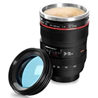 YOMYM Camera Lens Coffee Mug,The Stainless Steel Travel Mugs,Food Grade Materials,Leak Proof,12oz,Photography Mugs,Tumbler Insulated Cups for Hot and Cold Drinks,for All Ages