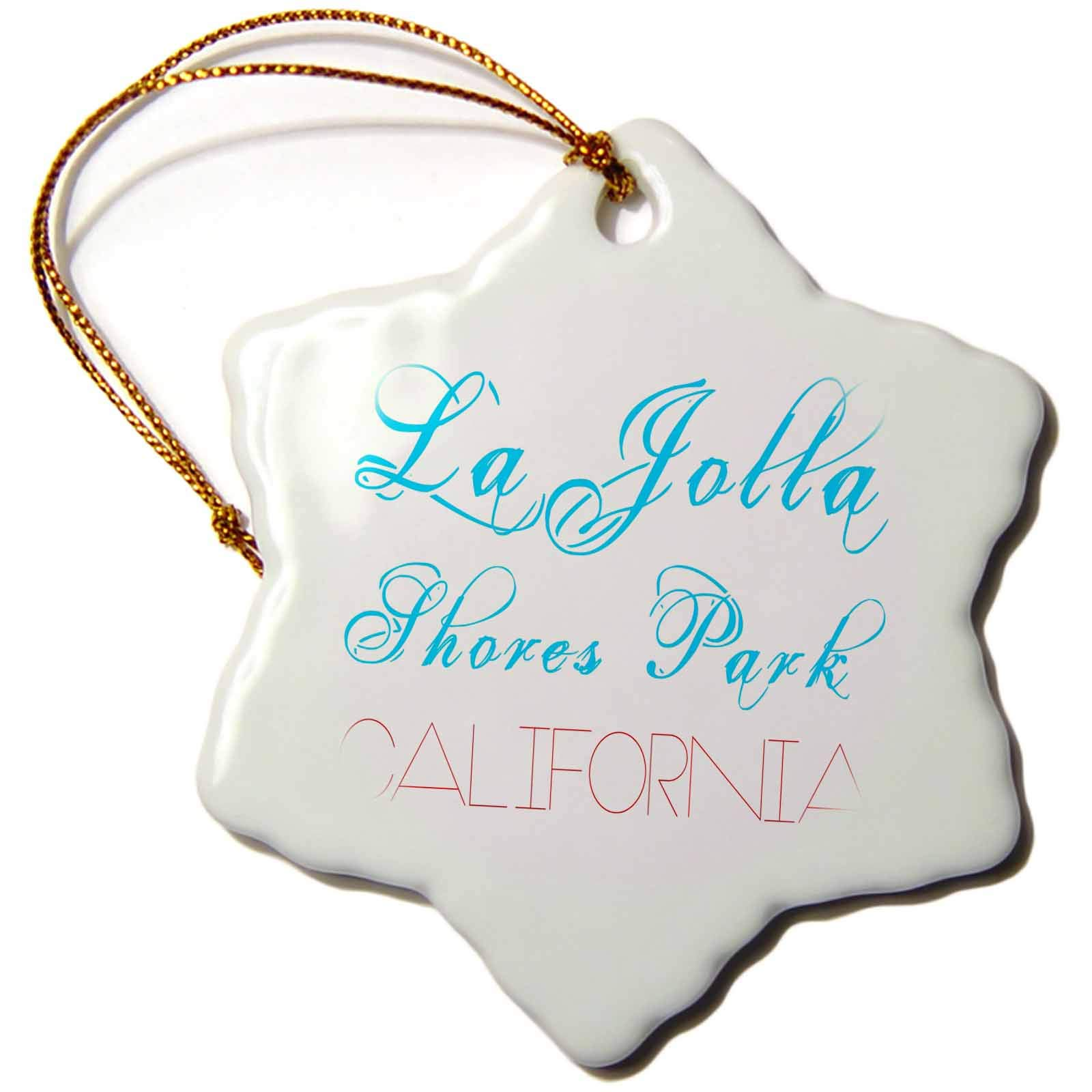 3dRose Alexis Design - American Beaches - La Jolla Shores Park, California. Red, blue text on white - 3 inch Snowflake Porcelain Ornament (orn_288393_1)