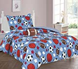 MB Collections Blue, Brown Football, Soccer, Baseball, Basketball 3 Pcs Printed Comforter with Pillowcase for Girls / Kids / Teens # Twin Size 3 Pcs Comforter Set