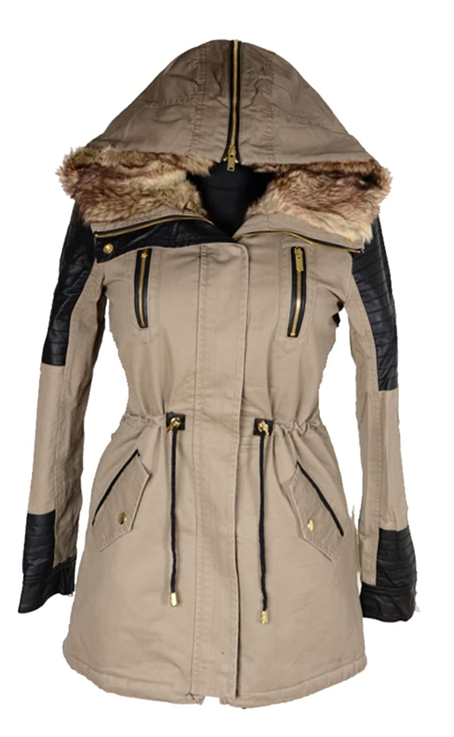 Damen Winterjacke Windbreaker warm mit FELL gefüttert Winter Kapuze Parka Jacke kurz Mantel 36 38 40 42 44 46 S M L XL Trench Coat Beige Anorak Leder