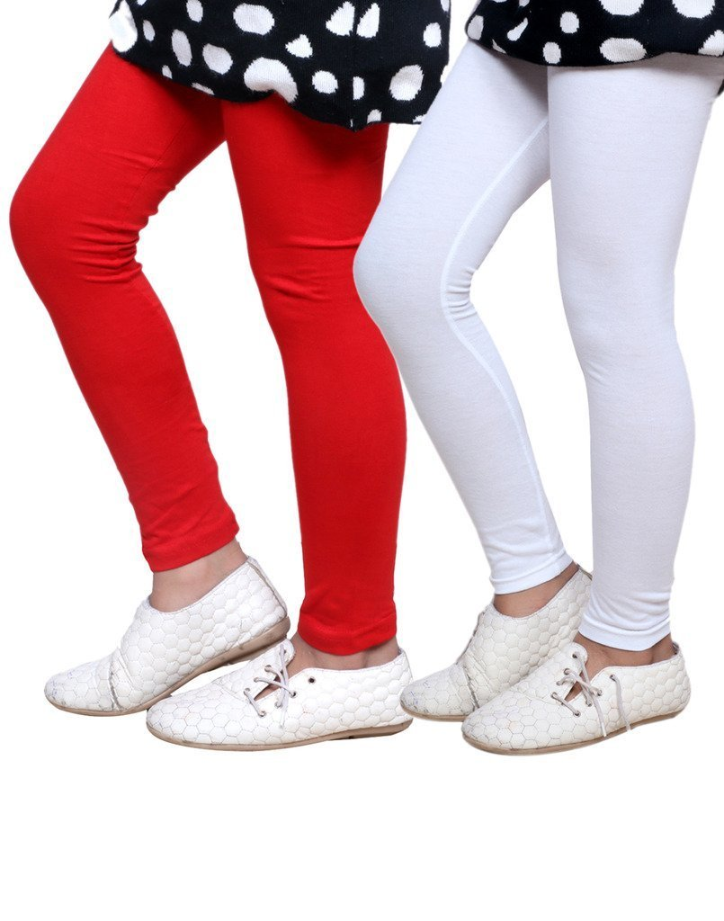 Indistar Girls Super Soft Cotton Full Ankle Length Leggings Pack of 2