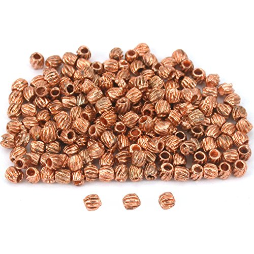 Bali Tube Beads Copper Plated Barrel 3mm New Approx (Bali Style Barrel)