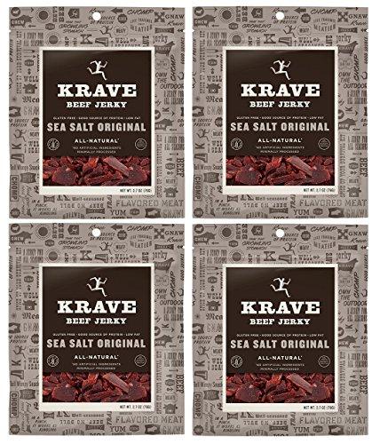 All Natural Beef Jerky - Sea Salt Original - 2.7 Ounces Each (Pack of 4)