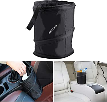 3 Pieces Black Car Trash Can Bag Car Garbage Holder Container Traveling Portable Garbage Bin Collapsible Pop-up Water Proof Bag Waste Rubbish Bucket