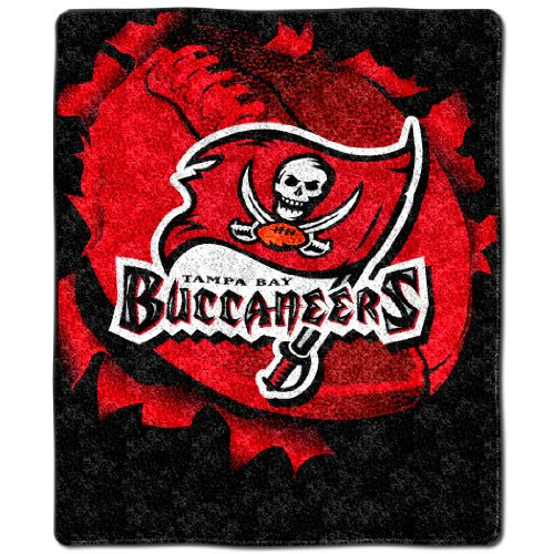 Throw Burst - NFL Tampa Bay Buccaneers 50-Inch-by-60-Inch Sherpa on Sherpa Throw Blanket