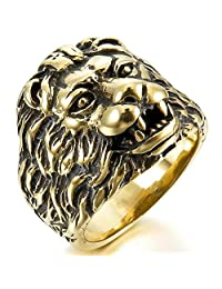 Epinki,Fashion Jewelry Men's Stainless Steel Rings Band Gold Black Lion Head Gothic Biker