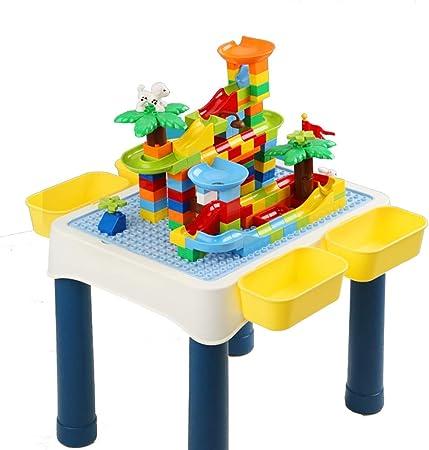 Juego de mesa de actividades para niños Bloques de construcción for niños multifuncionales Juego de rompecabezas ensamblado Caja de almacenamiento de mesa de juguete 3-6 años Construir y aprender tabl: Amazon.es: Hogar