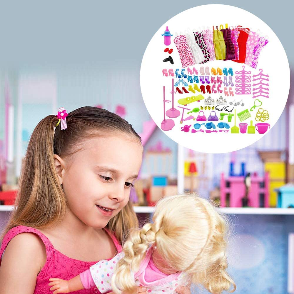 WENTS Doll Clothes for Barbie Doll Clothes Set for Barbie Dolls Include 10 Pack Clothes Party Grown Outfits and 75 Pcs Different Doll Accessories Dresses Skirts Shoes Little Girl