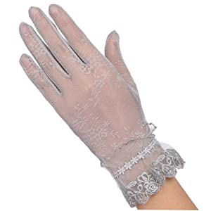 Lisianthus Women's Floral Lace Gloves With Ruffle Trim Gary Model 3