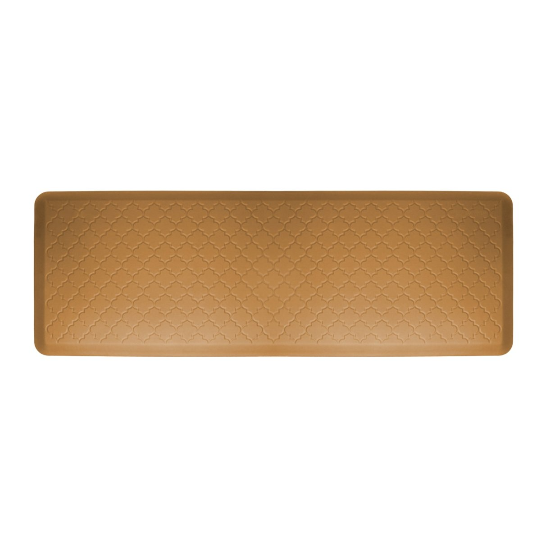 WellnessMats Anti-Fatigue 72-inch by 24-inch Trellis Motif Kitchen Mat, Tan