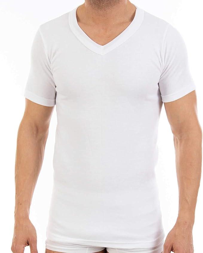Pack Ahorro de 6 Unidades - Camiseta Interior Termal de Hombre L100V, de Manga Corta y Cuello de Pico. Misma Talla y Color.: Amazon.es: Ropa y accesorios