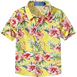 SSLR Big Boy's Hibiscus Cotton Short Sleeve Casual Button Down Hawaiian Shirt (X-Large(18-20), Bright Yellow)