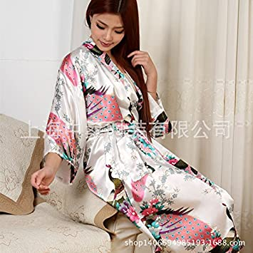 Wanglele Kimono Morgenmantel Seide Satin Lace Kleid Bademantel ...