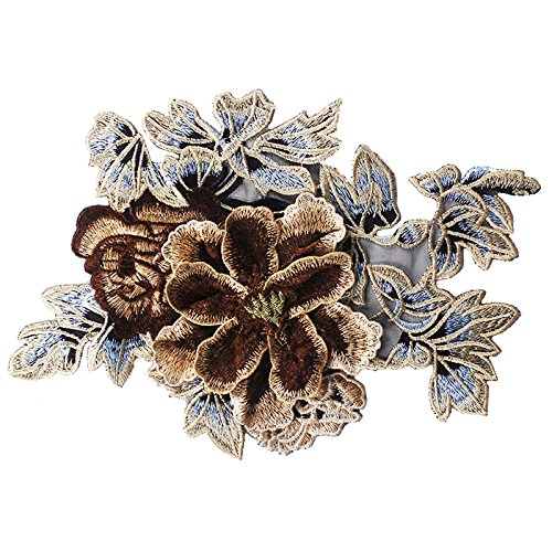 1piece 3D Big Peony Embroidery Lace Bridal Applique Patches Trimming Motif Venise Sew on Craft Sewing Supplies (Violet) Sunbe Shine