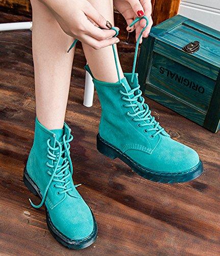 Botines De Punta Redonda De Moda De Las Mujeres De Aisun Con Cordones De Tacón Alto Plano Corto Martin Botas Zapatos Verdes