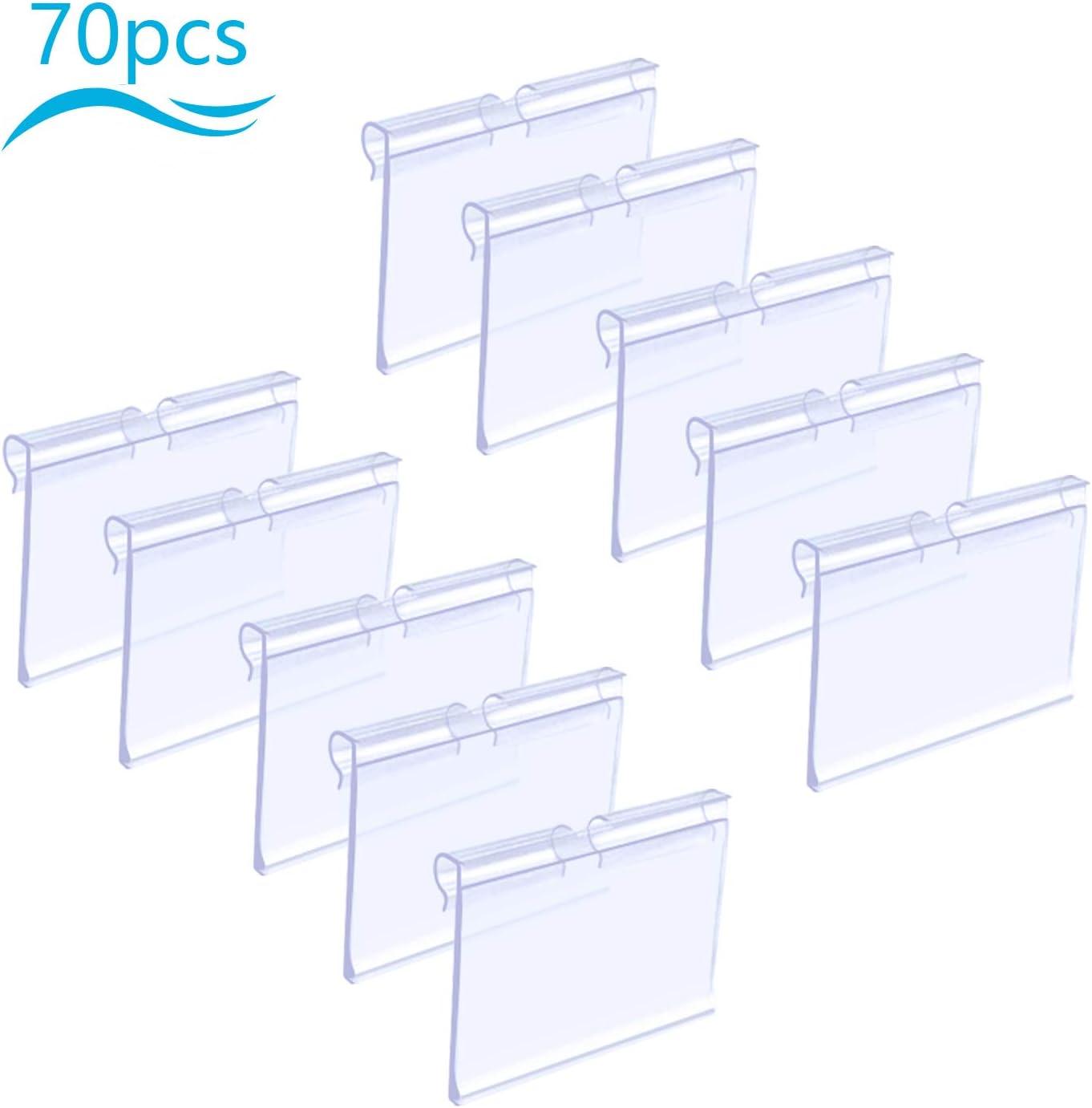Matogle 70 pcs Porta Precios Transparente Soportes de Etiqueta de Precio Claro para Exhibición Titular para Tarjeta de Nombre Colgar en Estante de Alambre para Tiendas Mercería Oficina