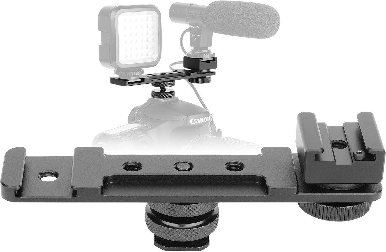 ChromLives Hot Shoe Extension Bar Flash Bracket Dual Straight Mount Flash Bracket fits Nikon Canon Sony Olympus DSLR Camera Camcorder DV