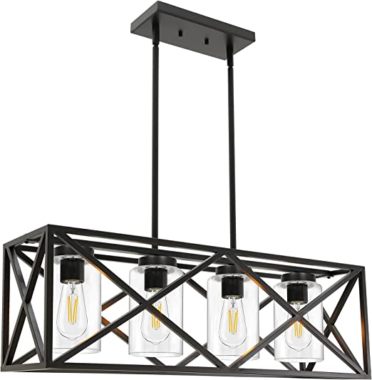"""TODOLUZ 30.35"""" Dining Room Lighting Fixtures Hanging Black Finish 4-Lights Open Frame Farmhouse Chandelier Pendant Light for Kitchen Island Pool Table with Clear Glass"""
