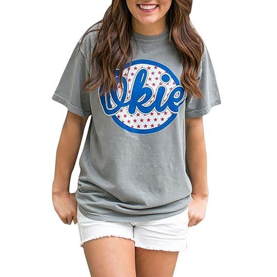 Camisetas Mujer Manga Corta Algodon AIMEE7 Camisetas Mujer Manga Corta Camisetas Casual Mujer Camisetas Moda Mujer Blusas para Mujer Verano Manga Corta ...