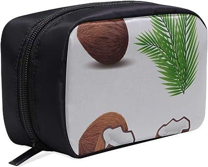 Bolso de maquillaje para niñas pequeñas Bolso de coco roto marrón Bolso para viajeros de alimentos Bolso de viaje para mujeres Bolso de aseo para niños Bolsas de cosméticos Estuche multifuncional Bo: