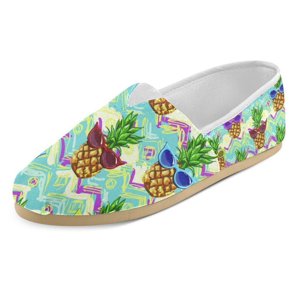InterestPrint Women's Loafers Classic Casual Canvas Slip On Fashion Shoes Sneakers Flats Size 9 Hawaiian Tropical Summer Funny Cool Pineapple With Sunglasses