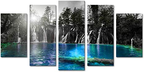 Amazon Com Sechars Large Size 5 Piece Canvas Wall Art Black And White Dreamlike Waterfall Picture Teal Blue Lake At Sunset Landscape Painting For Home Living Room Decor Modern Giclee Artwork Framed Ready