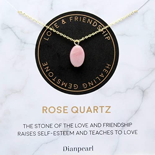 Rose Quartz Crystal Healing Necklace  August Birthstone Jewelry  Friendship Gift for Her  Anniversary Gift for Her
