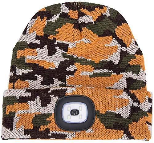 AONAN USB Rechargeable LED Beanie Cap, Lighting and Flashing Alarm Modes Ultra Bright 4 LED Hands Free Flashlight Unisex Winter Warmer Knit Cap Hat (Camouflage - Orange)
