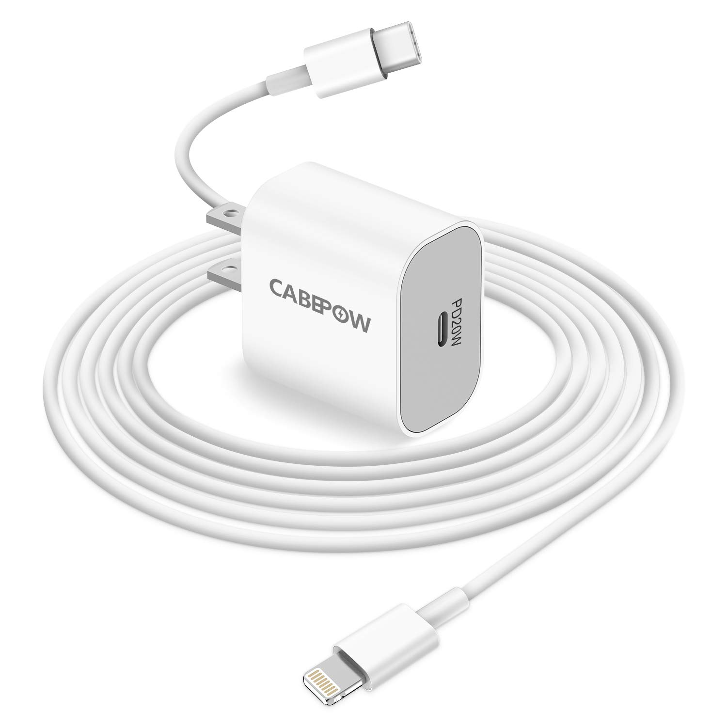 iPhone Fast Charger Apple MFI Certified, Cabepow 20W PD USB-C Power AdapterWall Plug with USB C to Lightning Cable 6ft for Apple iPhone 12 11 Pro XR XS Max X 8 Plus iPad Pro iPad Air