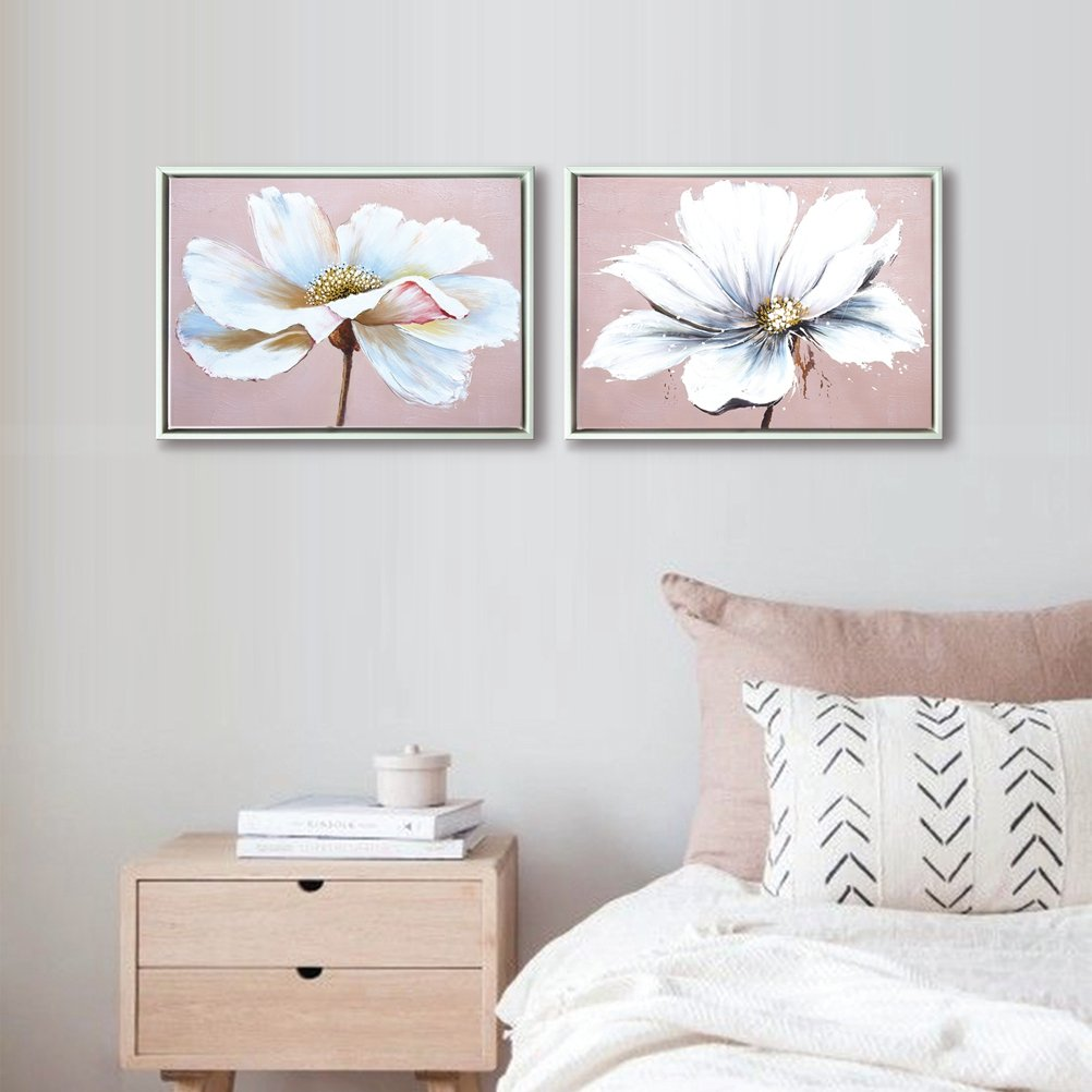 Aitesi Art Flower Wall Art Decor Modern Framed Floral Canvas Painting Picture with Hand Painted Texture for Living Room Bedroom Bathroom Girl Room White and Pink 12x16 x 2 piece/Set