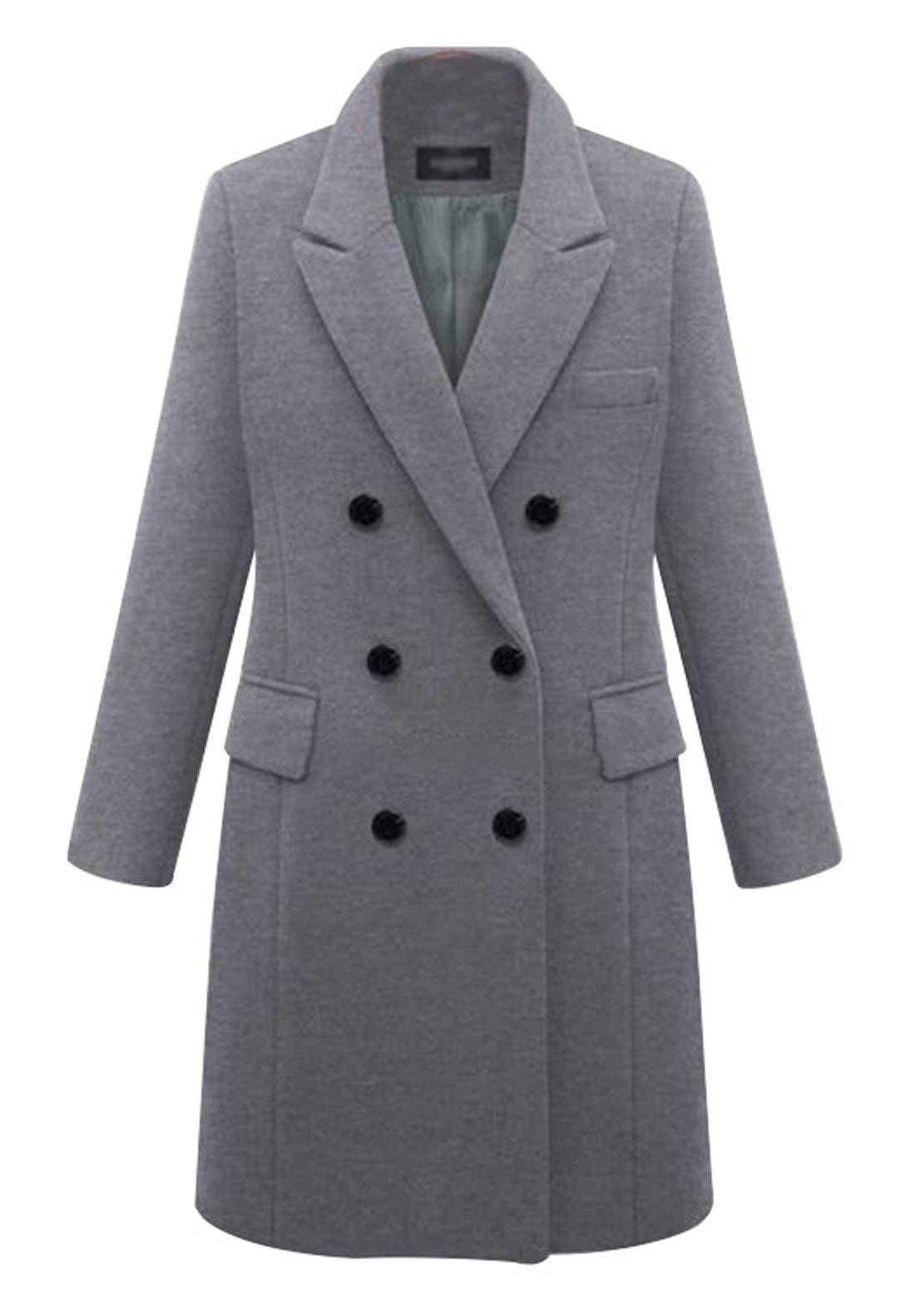 chouyatou Women's Basic Designed Notch Lapel Double Breasted Mid-Long Wool Pea Coat (Large, Grey) by chouyatou