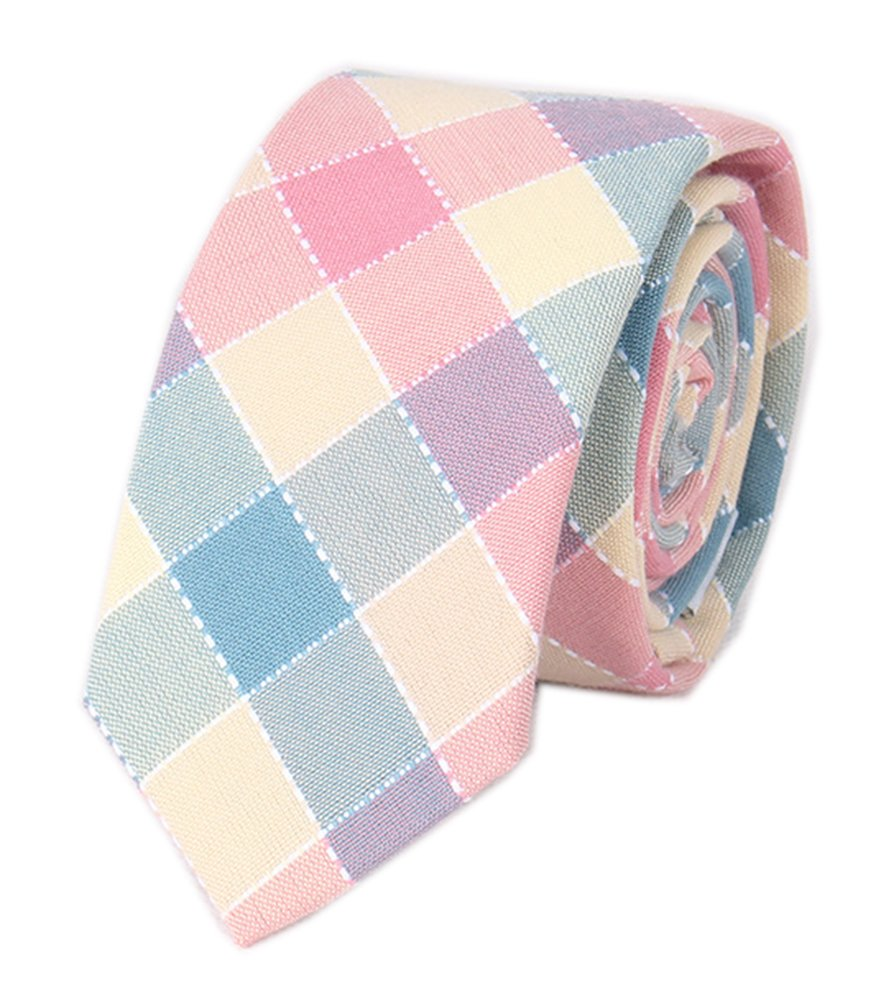 Boy's Blush Peach Pink Teal Sky Blue Cravat Woven Business Handmade Tie for Gift