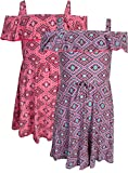 Real Love Girl's Printed Yummy Summer Dress (2 Pack), Geometric, Size 14/16'