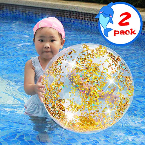 - JINSEY Glitter Beach Ball with Confetti Glitters,Inflatable Beach Ball Confetti (24 inches) Beach Balls Bulk,Outdoor Beach Pool Toys for Adults Kids(Gold)