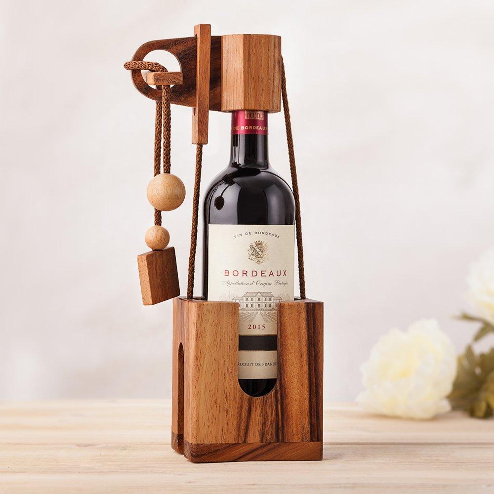 MAGISCHE GESCHENKBOX Wood Puzzle for Wine Bottles - Dark Wood - Wrapping Idea for Standard Wine Bottles - Tricky Puzzle - Wine Accessories by MAGISCHE GESCHENKBOX