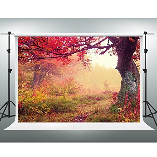 GESEN 7X5ft Magic Forest Backdrop Red Maple Leaf Weed Photography Background for Themed Party Customized Photo Studio Props Fresh Indoor Mural WBGE0026