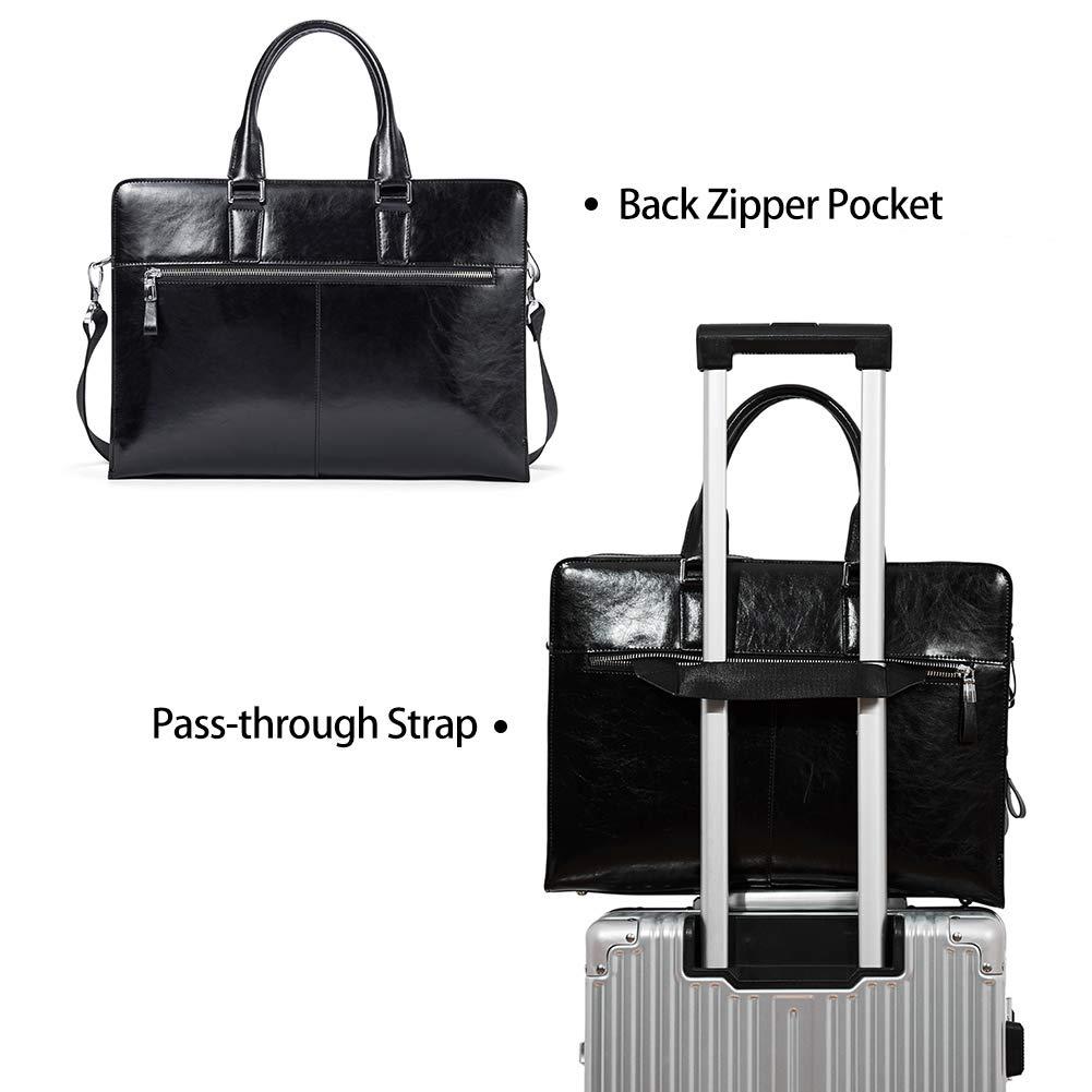 BOSTANTEN Women Genuine Leather Briefcase Tote Business Vintage Handbag 15.6'' Laptop Shoulder Bag Black by BOSTANTEN (Image #4)