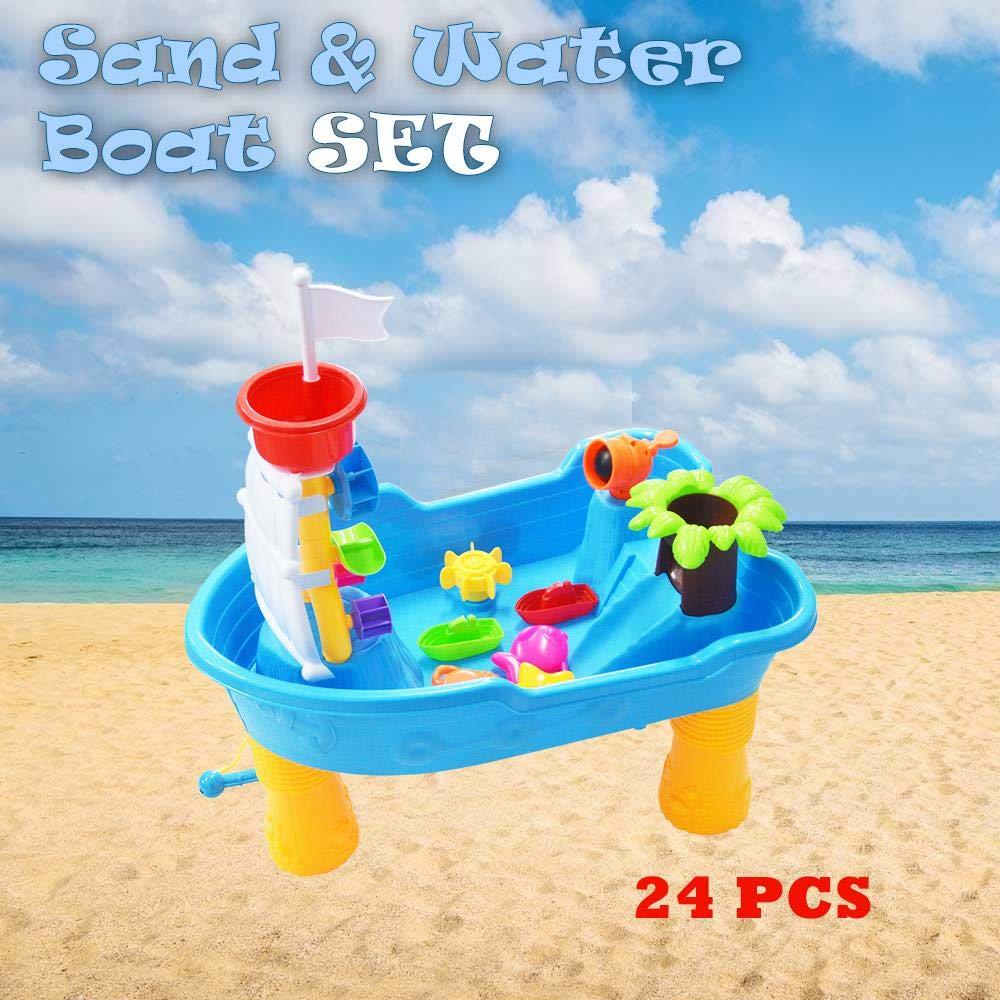 DRULINE Sand und Wasser Spieltisch Spielzeug Sandspieltisch Wasserspieltisch Blau (24-tlg)