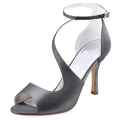 e61a5c4f73e74 Elegantpark HP1565 Escarpins Femme Satin Bride Cheville Sangle Ondule Bout  Ouvert Aiguille Sandales Chaussures de Mariee