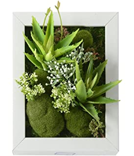 3D New Style Wall Hanger Artificial Flowers Metope Green Grass White Flower  Succulent Plants Imitation Wood