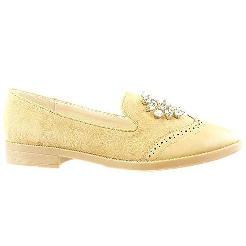 Angkorly Zapatillas Moda Mocasines Slip-On Mujer Joyas Strass Perforado Tacón Ancho 2 cm - Camel XH994 T 39: Amazon.es: Zapatos y complementos