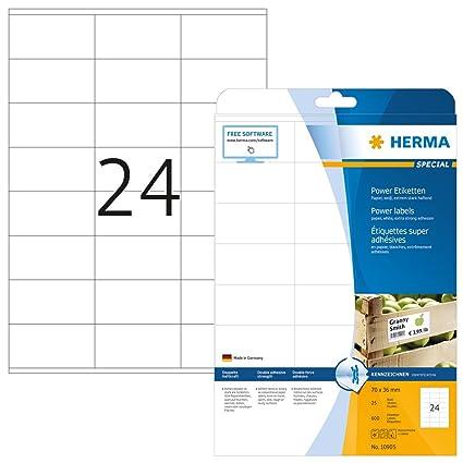 Herma 10905 - Etiquetas adhesivas (600 unidades, 24 en cada hoja, rectángulares, 70 x 36 mm), color blanco