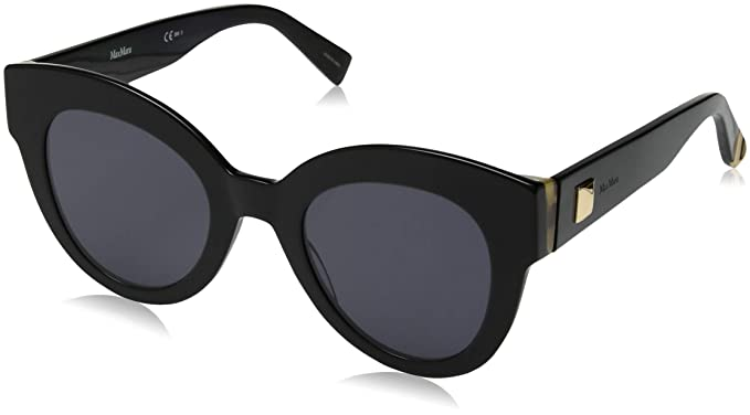 e9e4d7c263 Image Unavailable. Image not available for. Color  Max Mara Women s Mm Flat  I Round Sunglasses Black ...